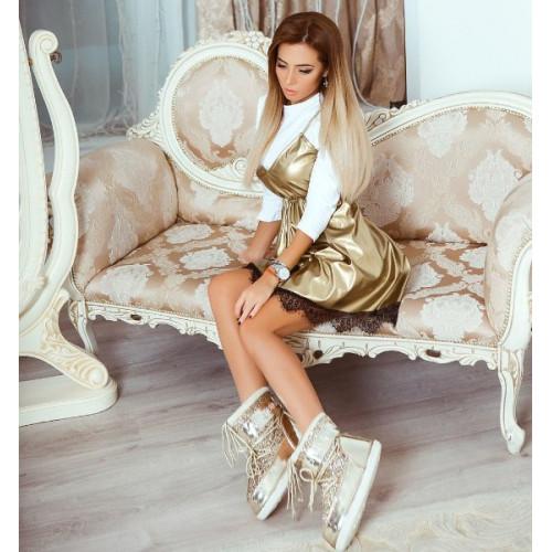 Платье стильное кожаное 10680