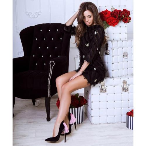 Легкое короткое платье с пчелками 11023