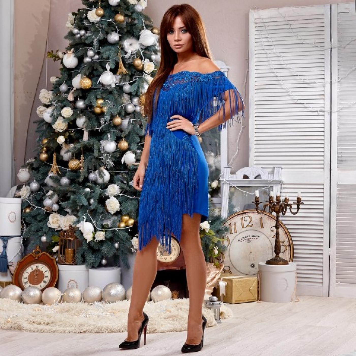 Платье гипюровое с бахромой 5630-0