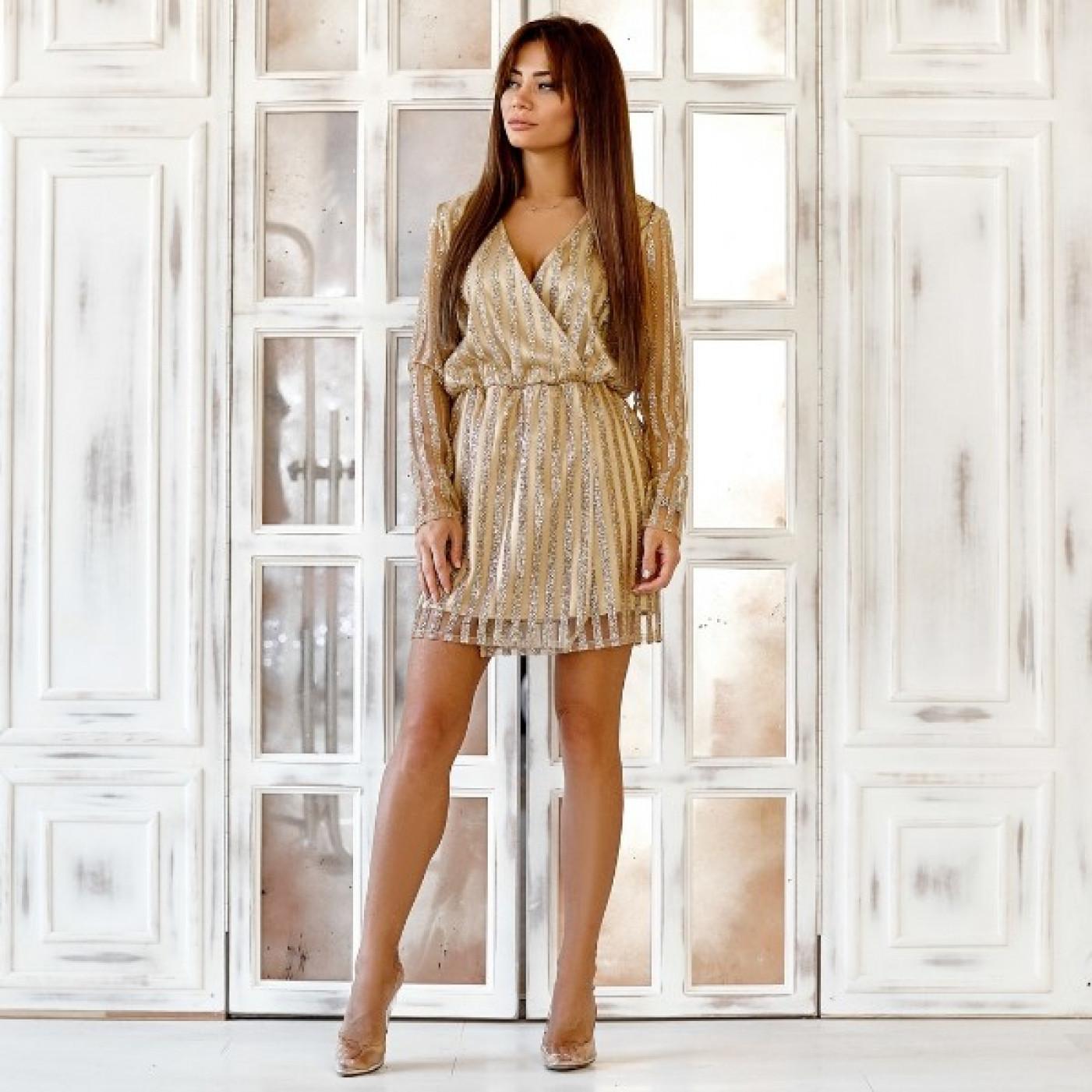 Яркое платье с напылением люрекс 11163