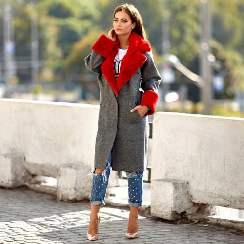 Пальто с меховой отделкой 11134