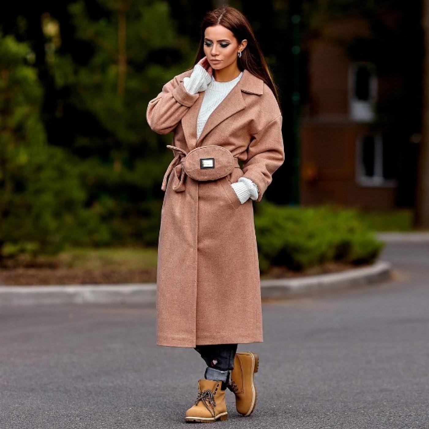 Пальто с поясной сумкой 11140