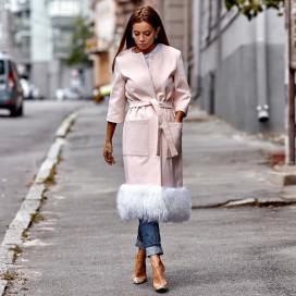 Пальто модное кашемировое внизу мех-Лама 10881