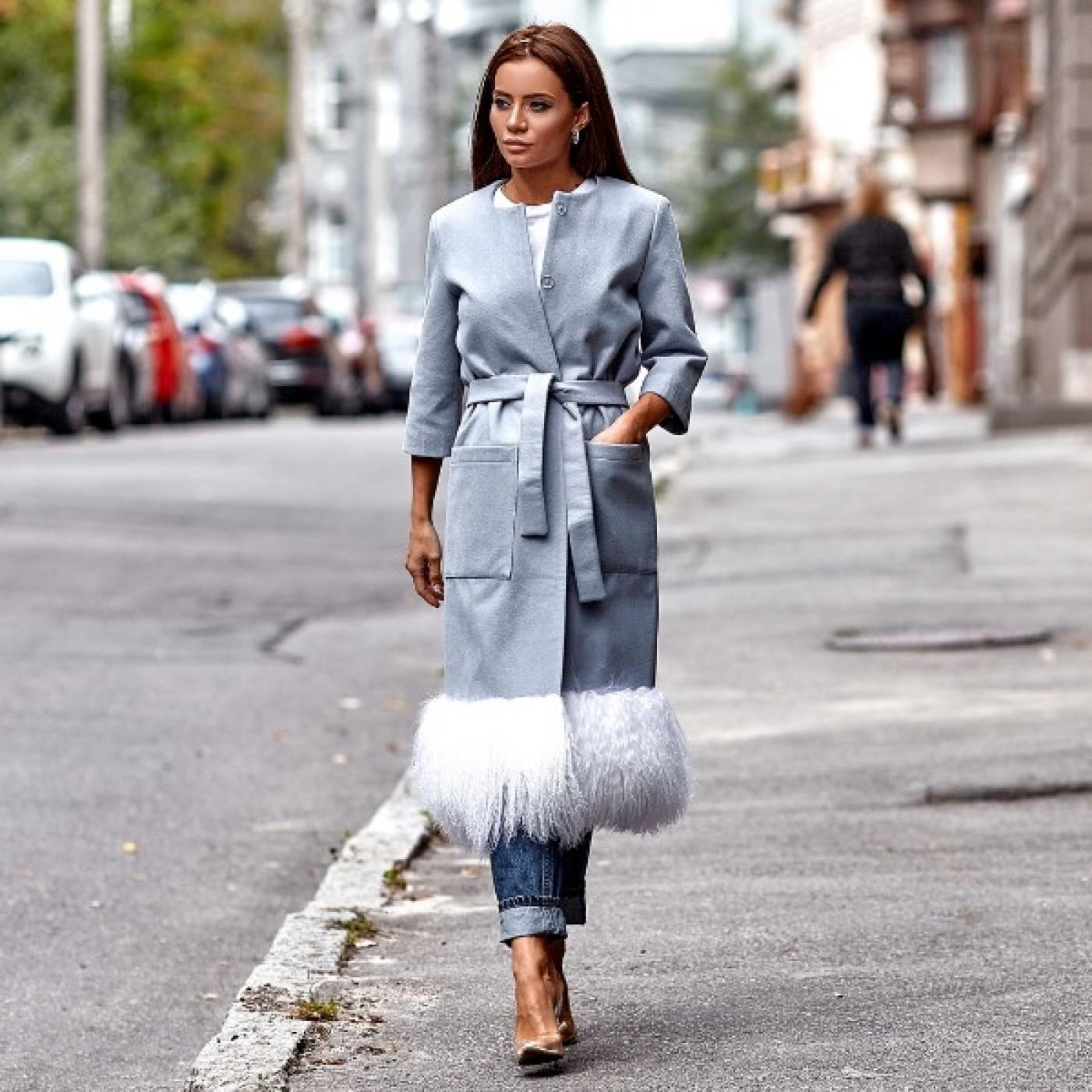Пальто модне кашемірове внизу хутро-Лама 10881