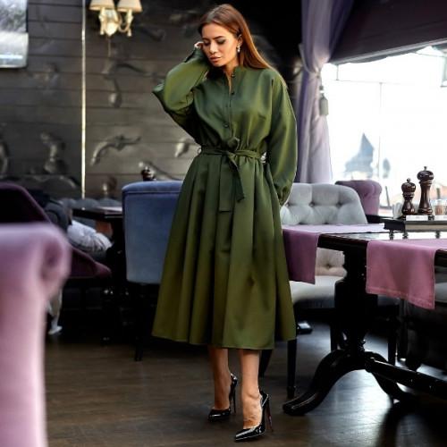 Пышное платье с поясом 11135