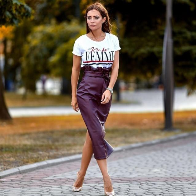 Модная кожаная юбка 11006