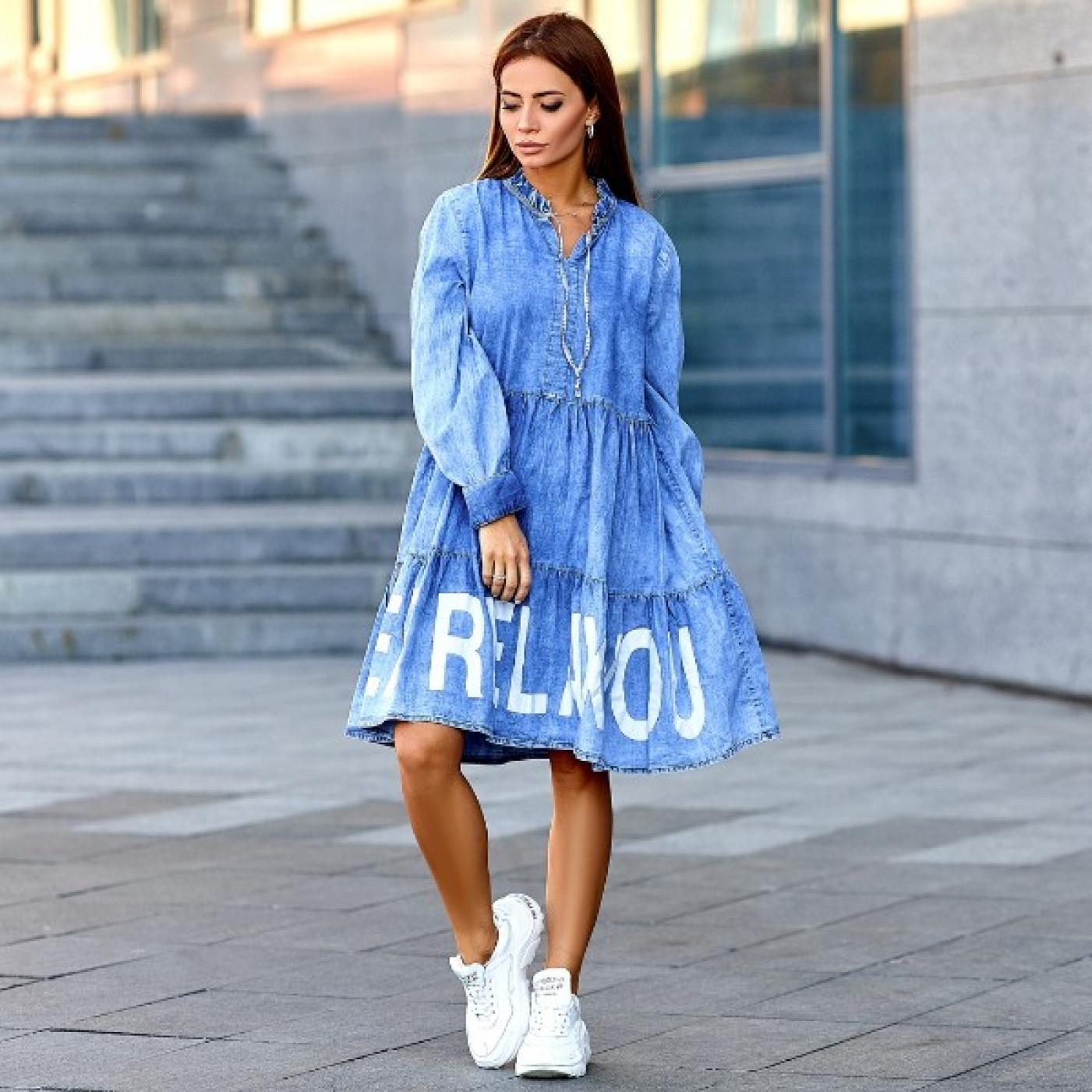 Свободное джинсовое платье 00916