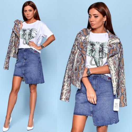 Асимметричная джинсовая юбка 5014-0