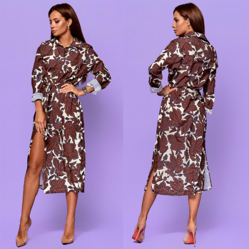 Стильное платье какао 5004-5