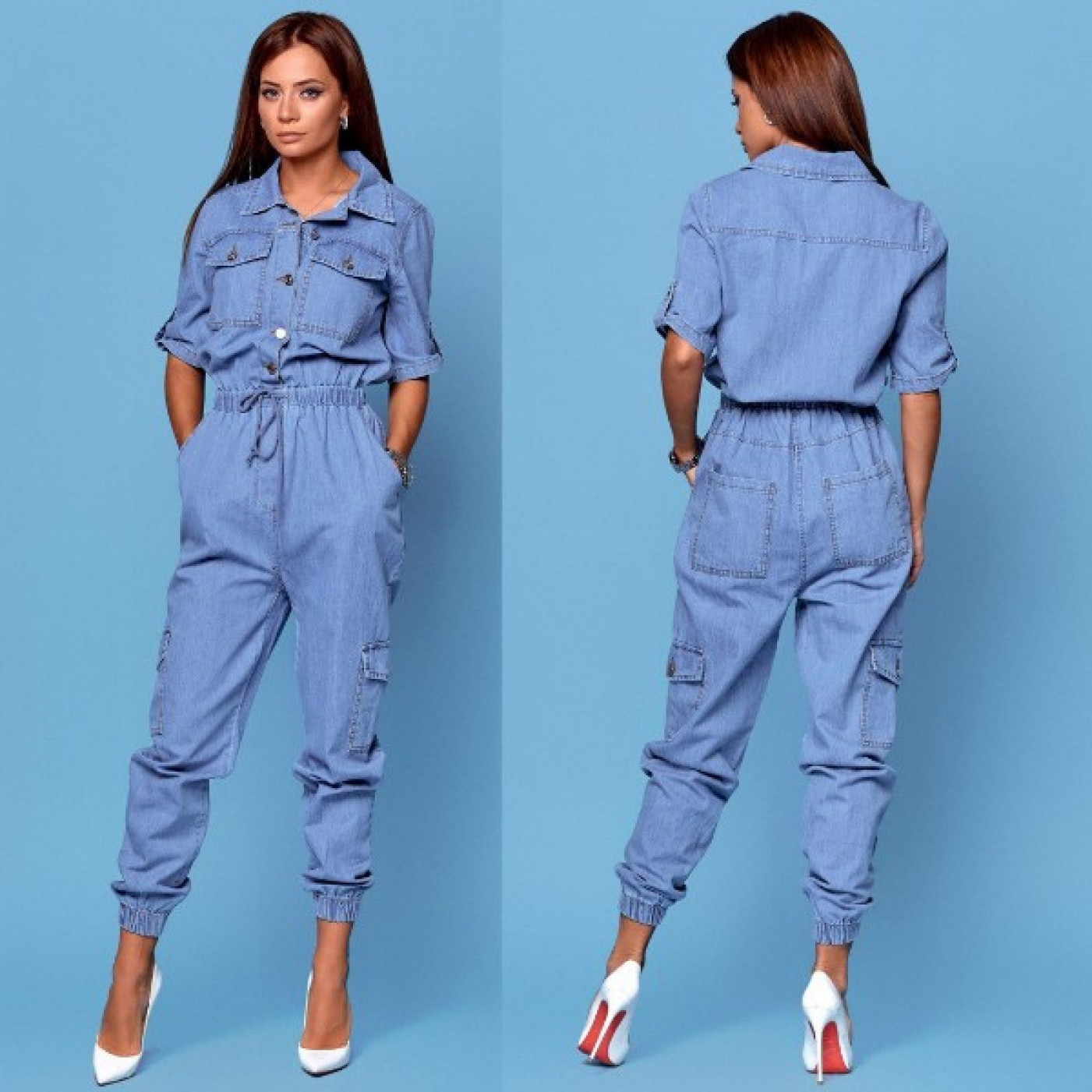 Вільний джинсовий комбінезон 85046