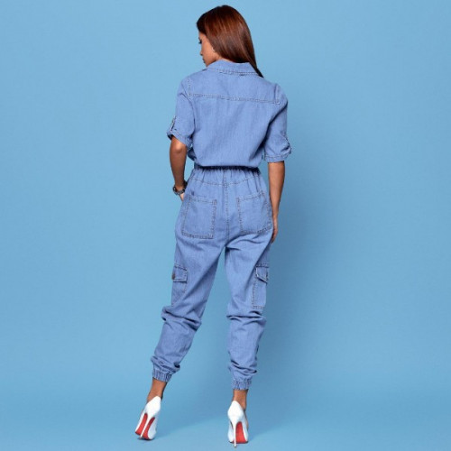 Свободный джинсовый комбинезон 85046