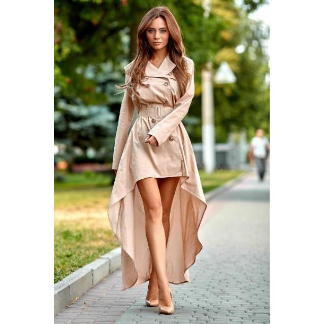 Асимметричное платье с поясом 11074