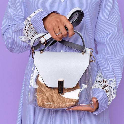 Силиконовая сумка с кожанным клапаном 6957
