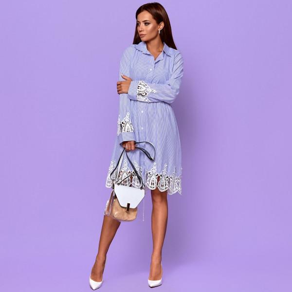 Сукня-сорочка в смужку з гіпюровицмі вставками 6951