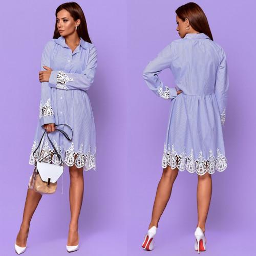 Платье-рубашка в полоску с гипюровыцми вставками 6951