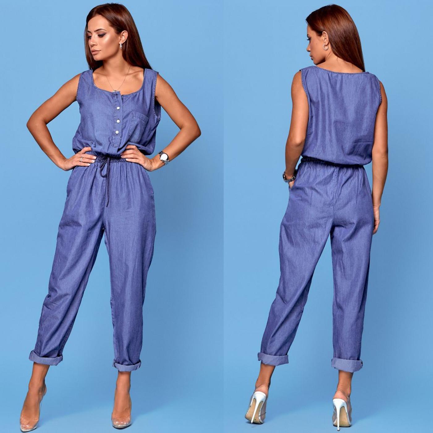 Свободный женский джинсовый комбинезон 6952