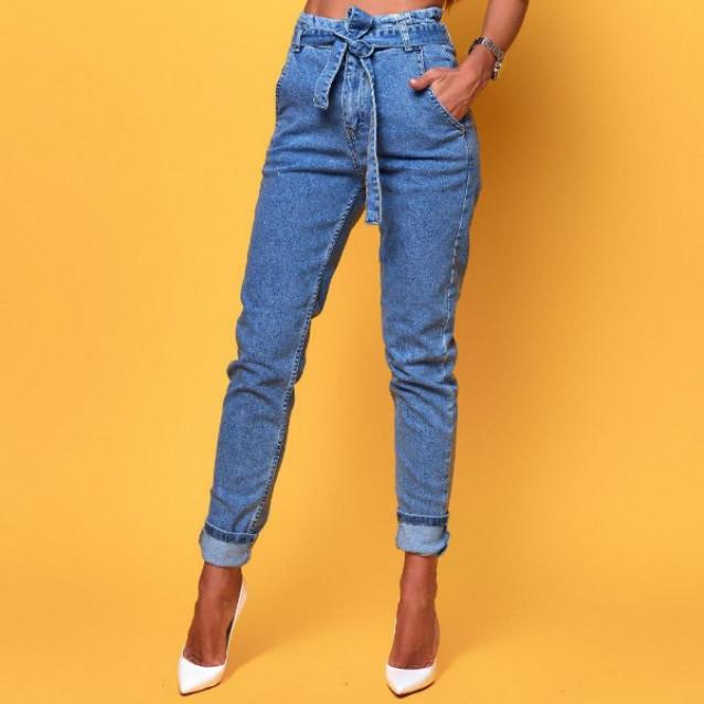 Высокие джинсы с ремнем 1452