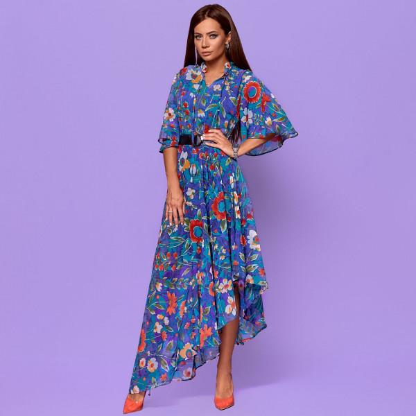 Асиметричне плаття в кольорах з поясом 58013