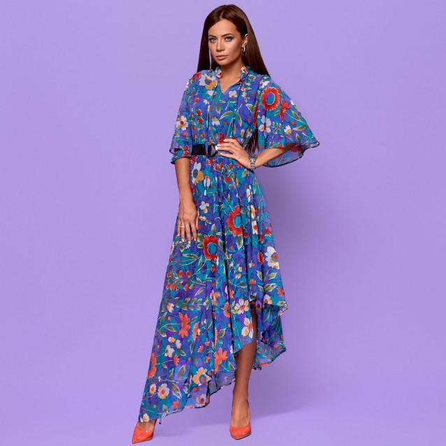 Асимметричное платье в цветах с поясом 58013