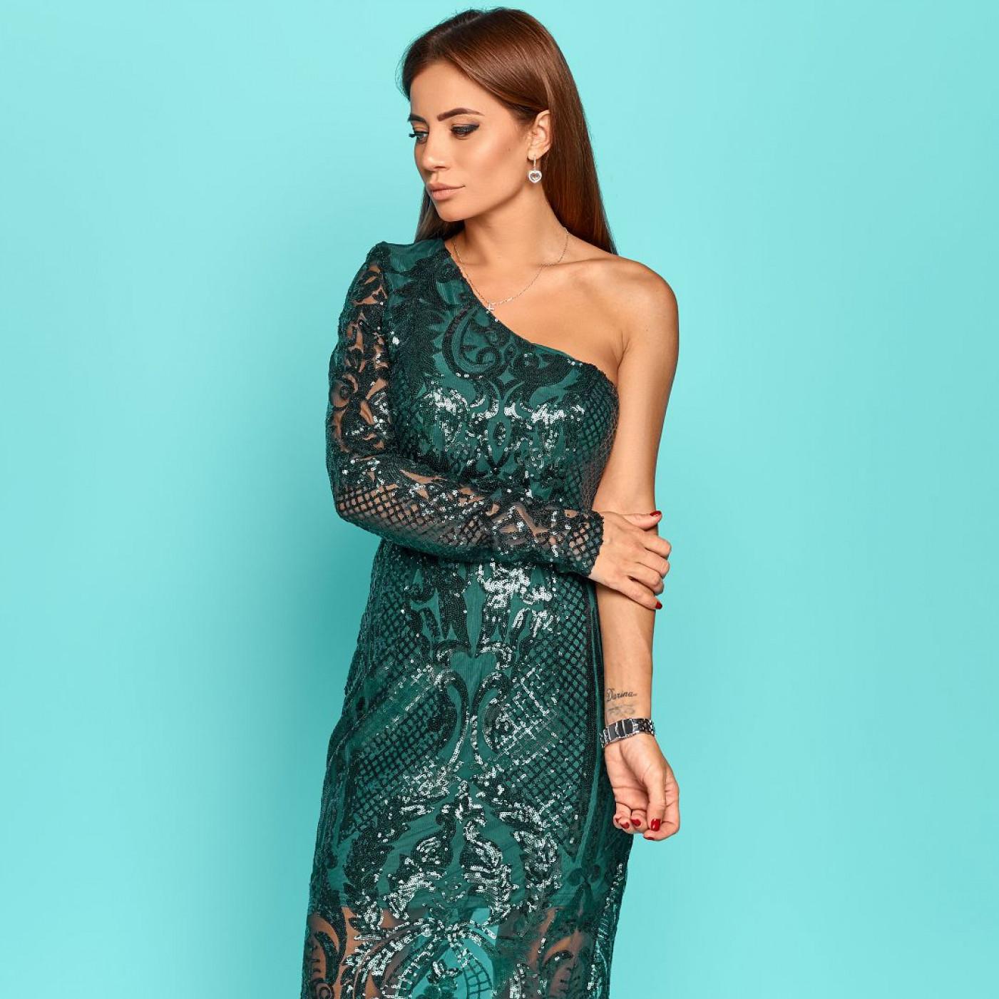 Платье из пайеток с узором на один рукав 11275