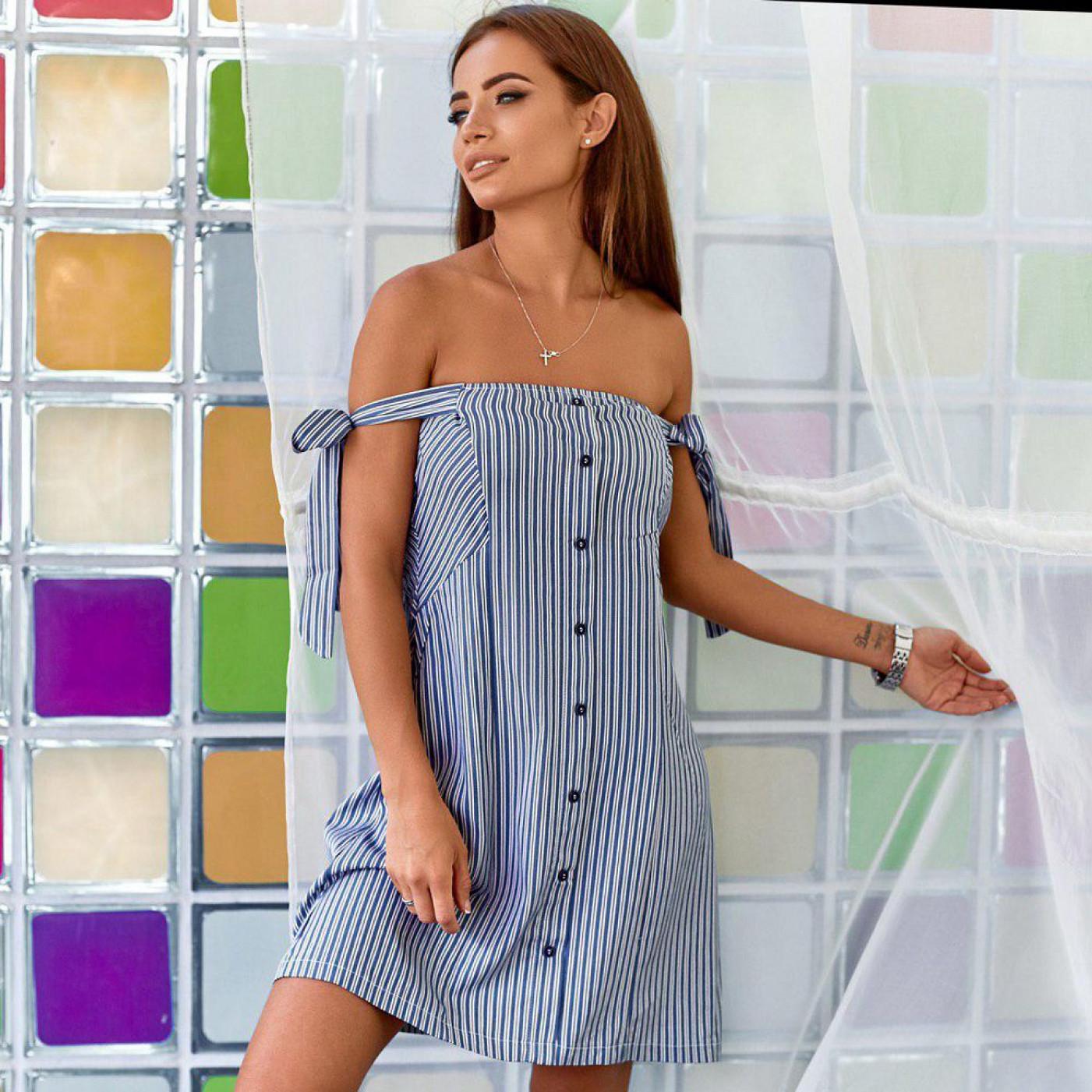 Літнє плаття з відкритими плечима 4387