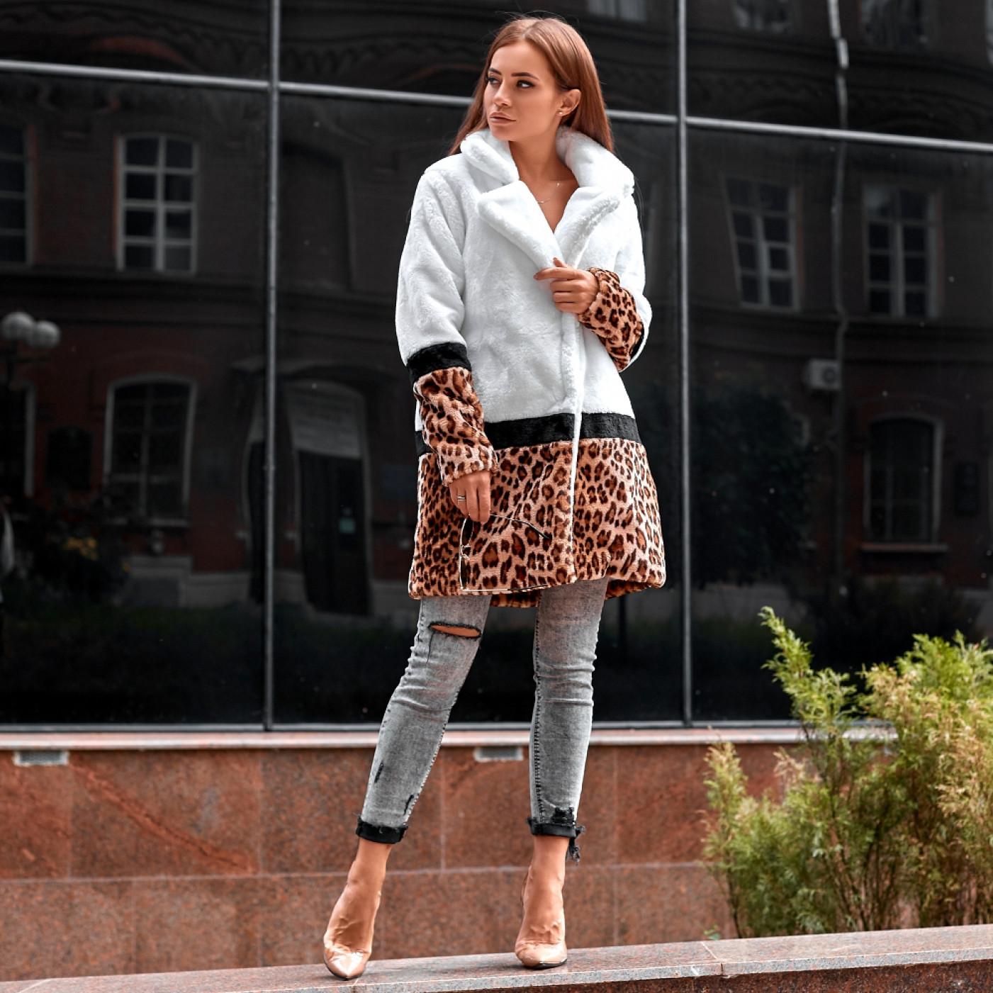 Полушубок из экомеха леопард 89096