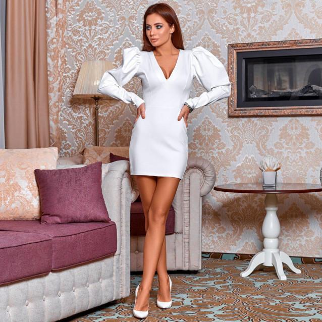 Платье-мини с пышным рукавом 11435