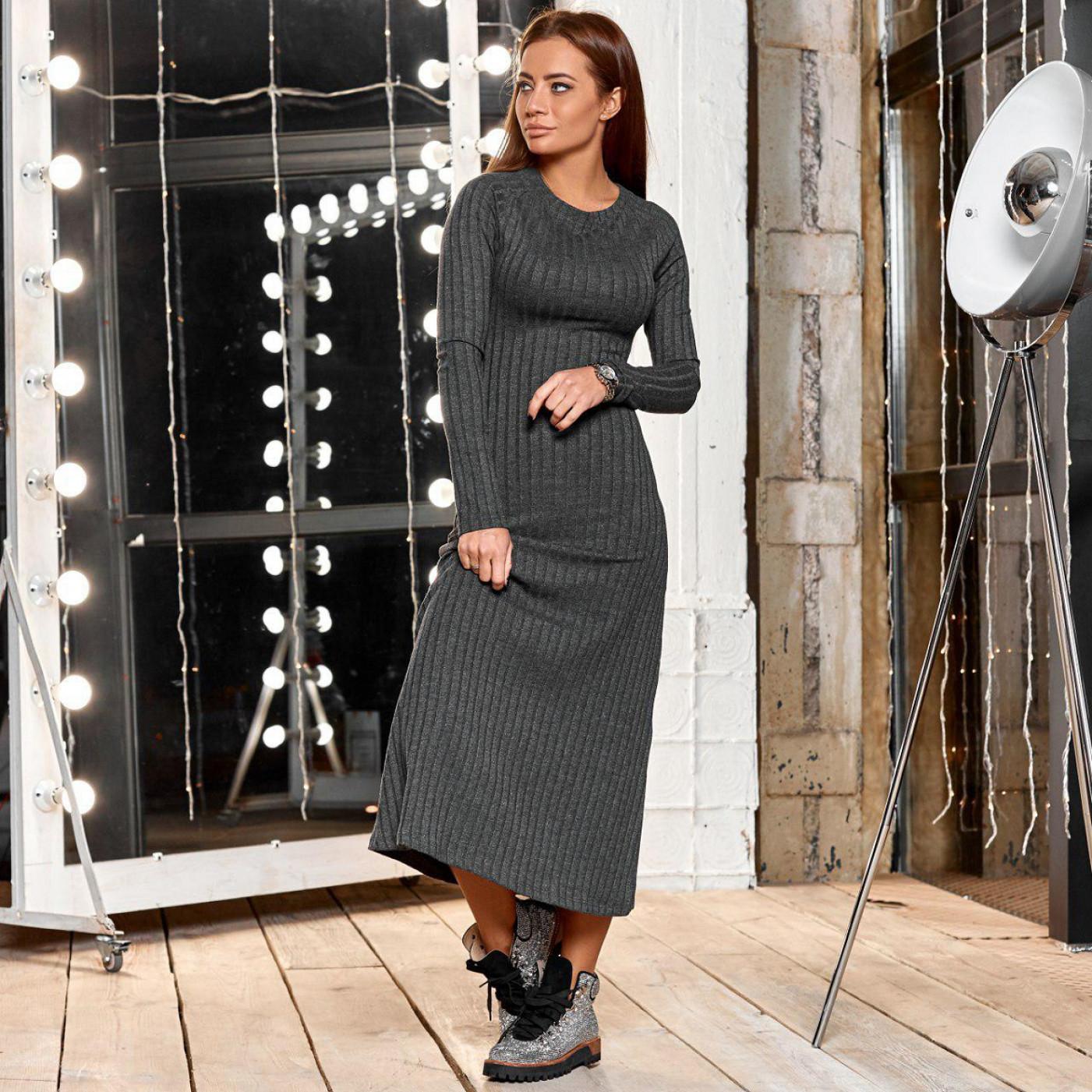 Вязанное платье в рубчик 23053-1