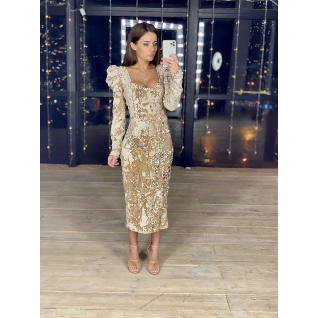 Велюровое платье с вышивкой пайетками 11449
