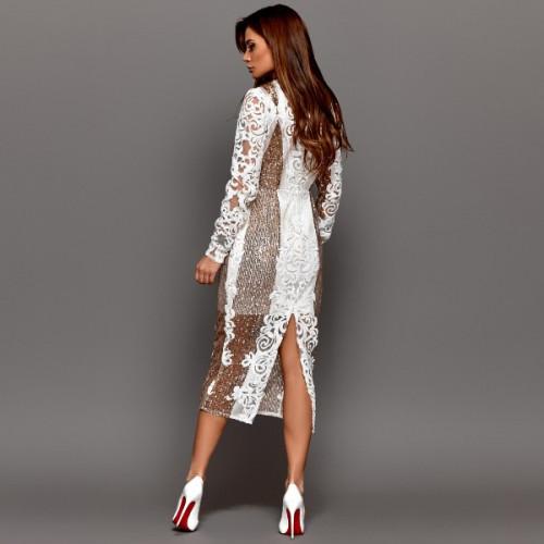 Платье вышитое с пайетками 11174