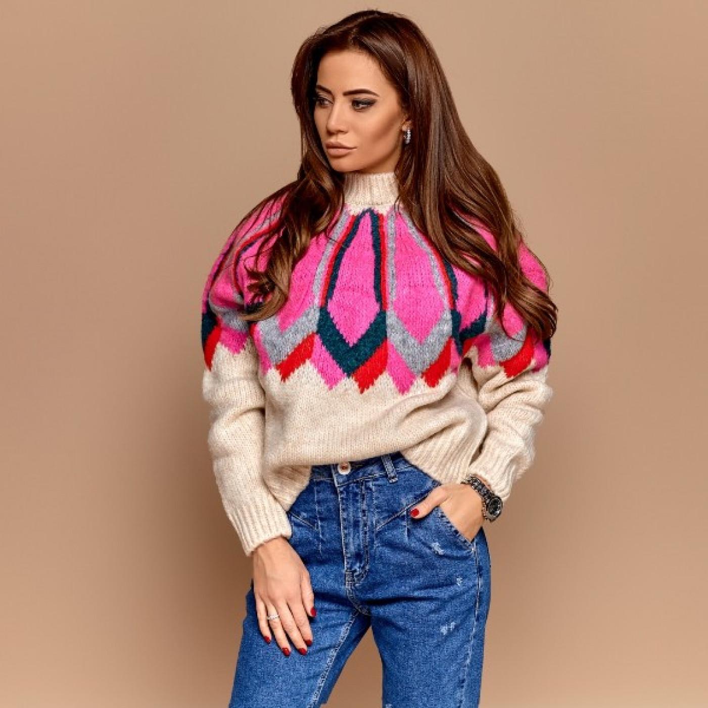 Теплый вязанный свитер 91487