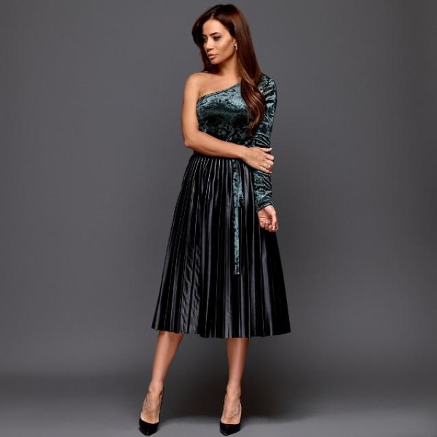 Шикарное велюровое платье 11228