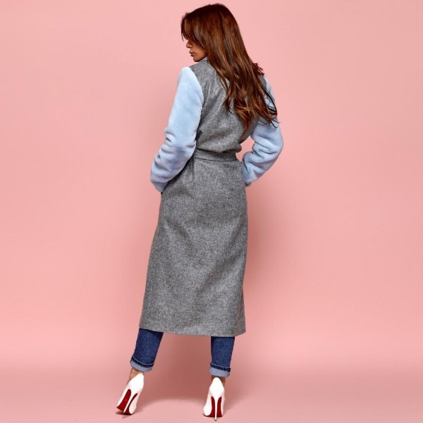 Пальто з хутряними рукавами 11143
