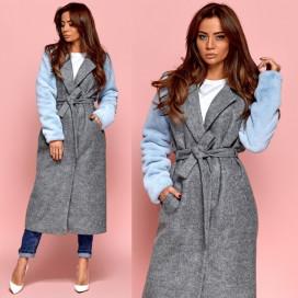 Пальто с меховыми рукавами 11143