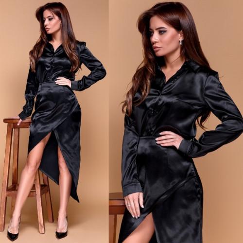 Атласный костюм рубашка+юбка 11186