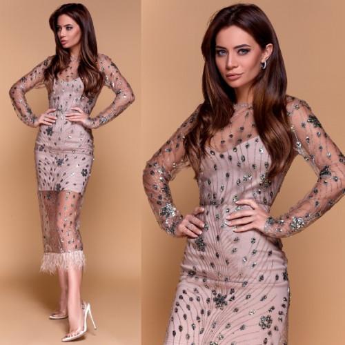 Платье с блестками и перьями страуса 11208