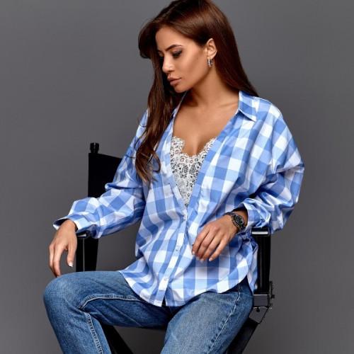 Рубашка в клетку с кружевом 11132