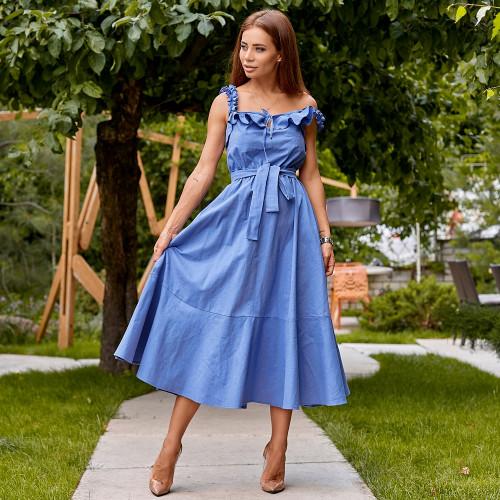 Платье на бретелях с поясом 11335