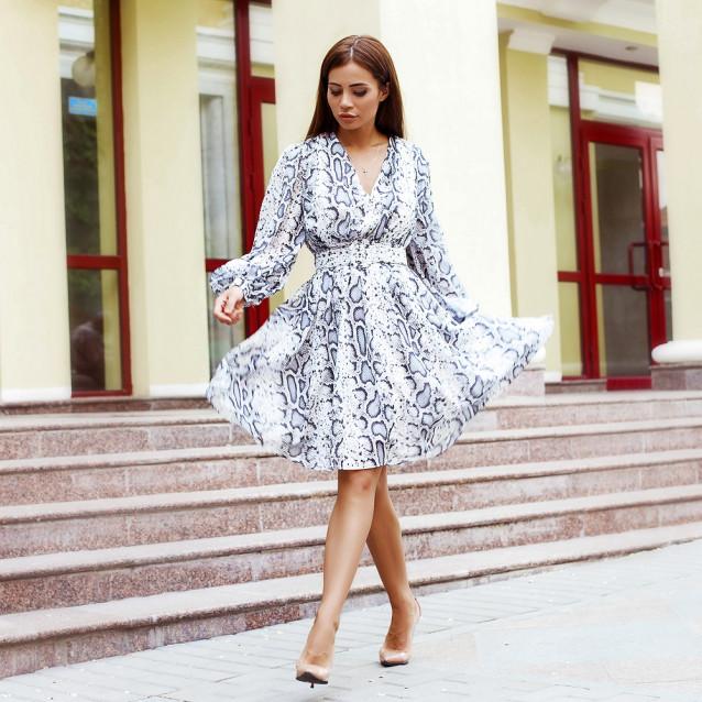 Платье принт белый питон 42981