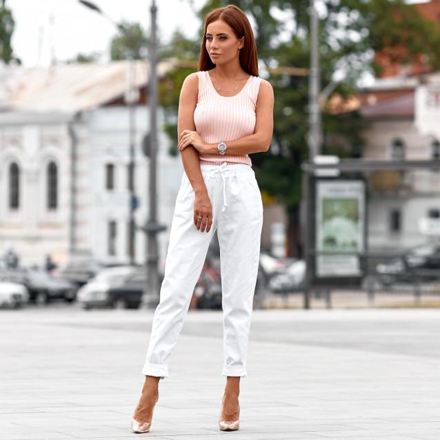 Белые джинсы со шнурком 72091