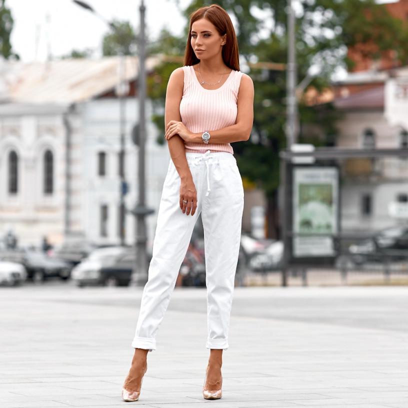 Білі джинси зі шнурком 72091