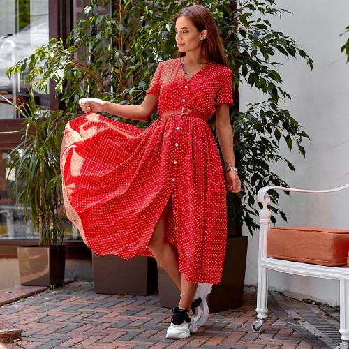 Платье в горошек с поясом 11308