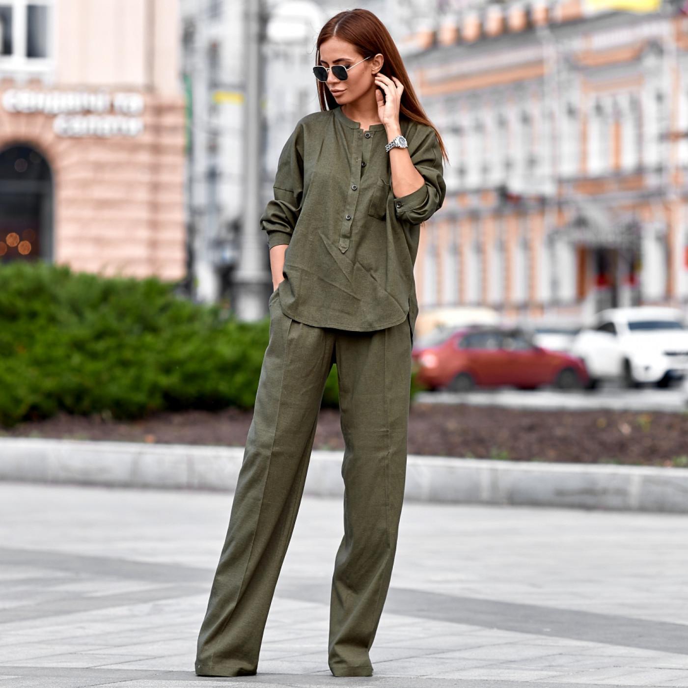 Льняной костюм со штанами-клеш 11105-2
