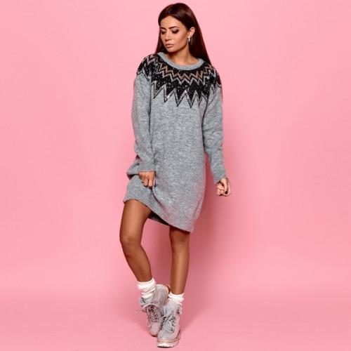 Молодежное вязанное платье 91682