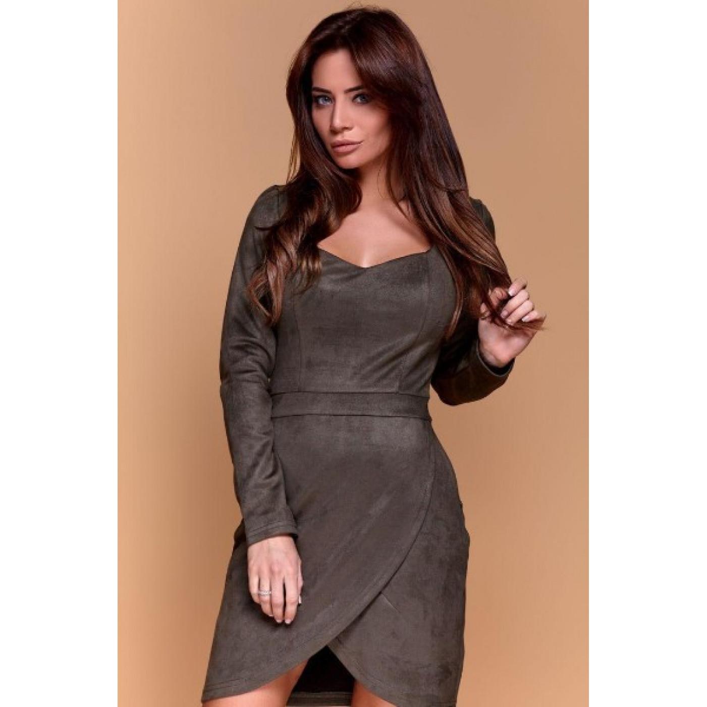 Замшеве міні плаття 11189