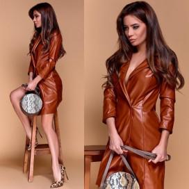 Платье-жакет из экокожи 11161
