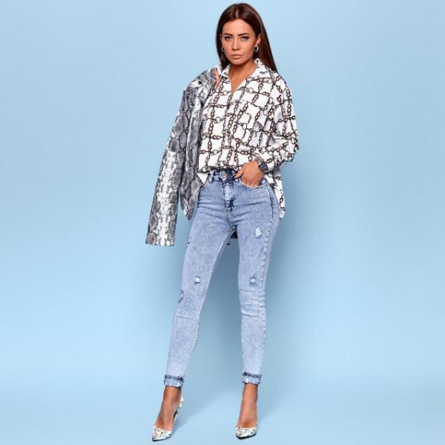 Светлые джинсы с потертостями 1365-0