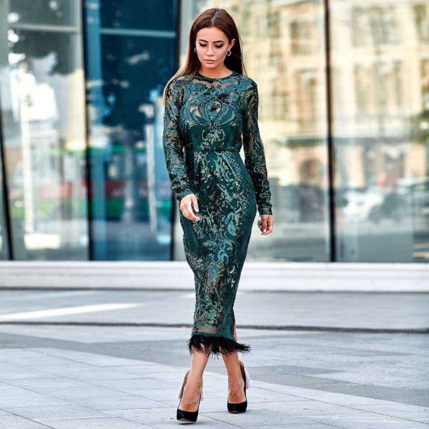 Елегантне плаття з візерунком з паєток 11141