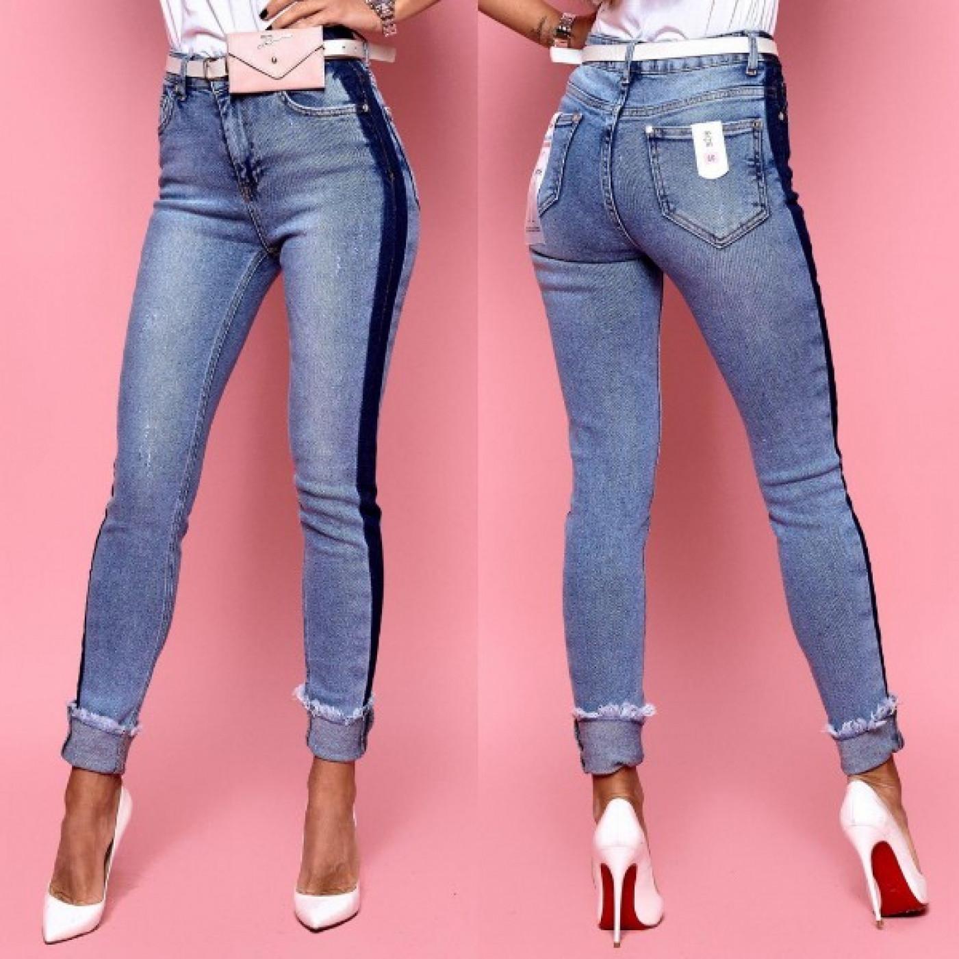 Облегающие джинсы с лампасами 7266-001