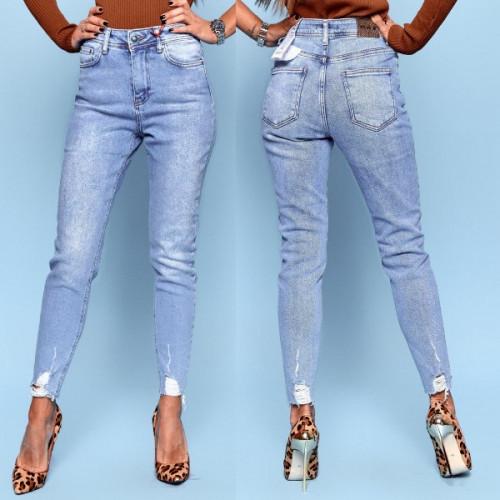 Светлые джинсы с высокой посадкой 5687